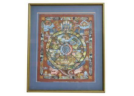 20th Century Thai School gouache on silk, depicting scenes of heaven and hell, 52 cm x 43.5 cm,