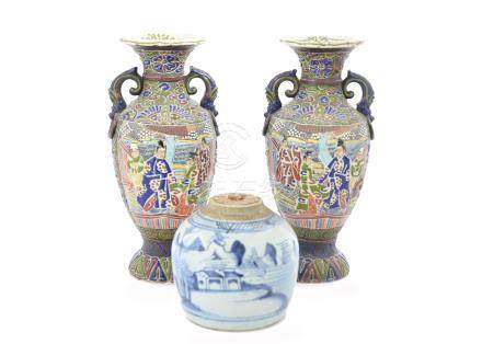 A pair of Chinese twin handled vases, character marks to base, 36 cm high, a Mason's bowl and a