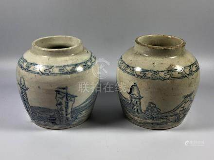 A PAIR OF CHINESE PROVINCIAL STYLE MARRIAGE / GINGER JARS, HEIGHT 9.5CM
