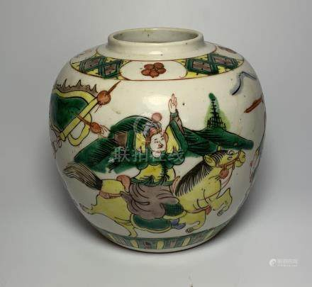 A LATE 19TH / EARLY 20TH CENTURY CHINESE OVOID FORM GINGER JAR WITH ENAMELLED WARRIOR DESIGN WITH