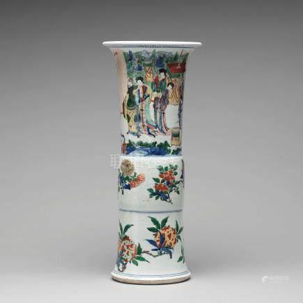 A Transitional wucai Gu-shaped beaker vase, 17th Century.