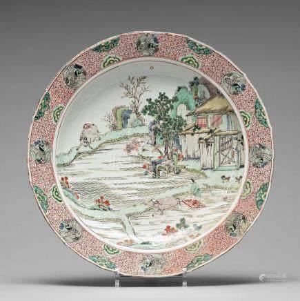 A crane medallion dish, Qing dynasty, Kangxi (1662-1722).