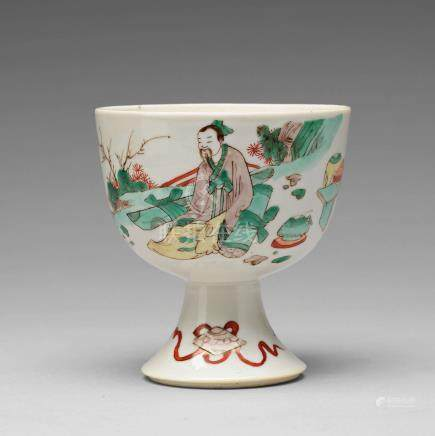 A famille verte stem cup, Qing dynasty, Kangxi (1662-1722).