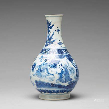 A Transitional blue and white pear shaped vase, 17th Century.