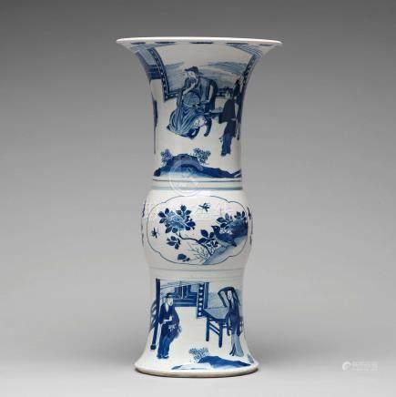 A blue and white gu shaped vase, Qing dynasty, Kangxi (1662-1722).