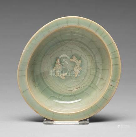 A double fish celadon dish, Yuan/Ming dynasty.