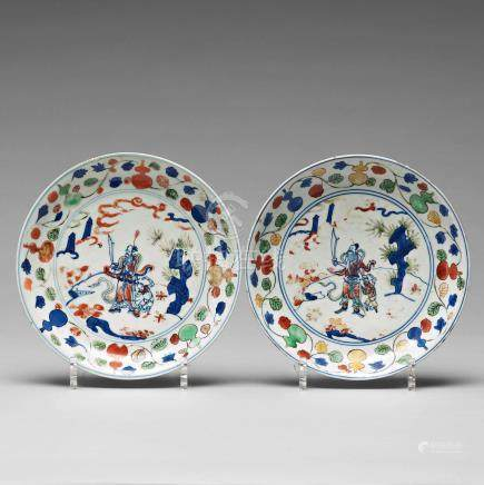 A pair of dishes, Ming dynasty with Wanli mark and of the period (1572-1619).