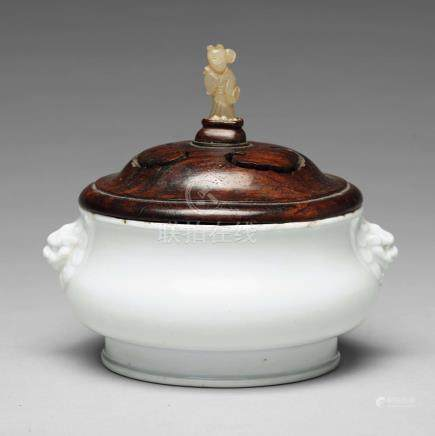 A blanc de chine censer, probably late Ming dynasty.