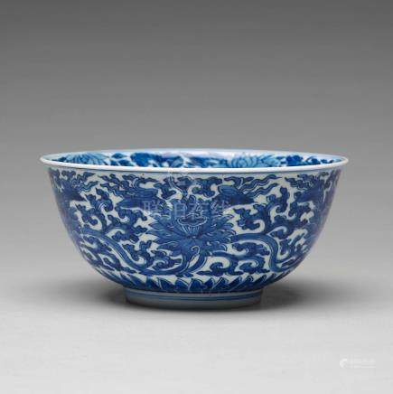 A blue and white lotus bowl, Qing dynasty, with  Kangxi mark and period (1662-1722).
