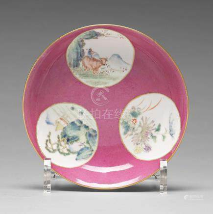 A famille rose dish, Qing dynasty, Guangxu mark and period (1874-1912).