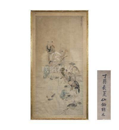 CHINE, XIXème siècle. Encre sur tissu représentant une assemblée de sages avec
