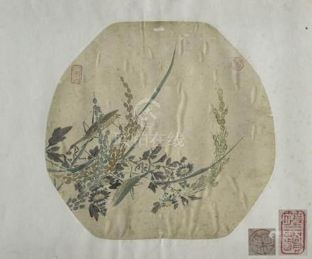 CHINE, XIXème siècle. Trois peintures d'éventails sur soie finement peints à mo