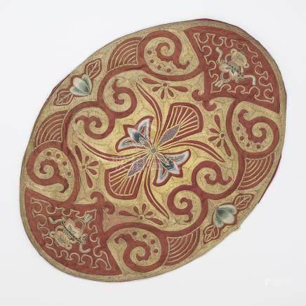 CHINE, XIXème siècle Ensemble de sept badges en soie tissée et fils d'or à moti