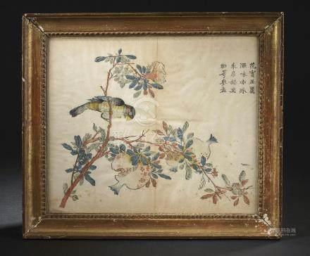 Estampe du Studio des Dix BambousChine, XIXe siècleReprésentant un oiseau perch