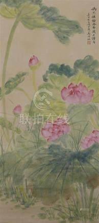 Peinture en rouleau à l'encre et couleurChineÀ décor de lotus, inscription, sig