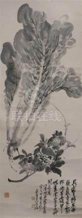 Peinture en rouleau à l'encreChineÀ décor de choux chinois et grenades, poème,