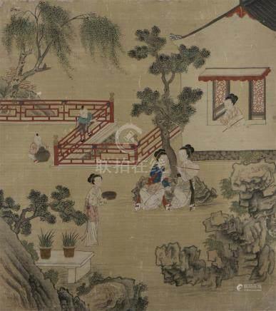 Cinq peintures en rouleau à l'encre et couleur sur soieChine, XIXe siècleÀ déco