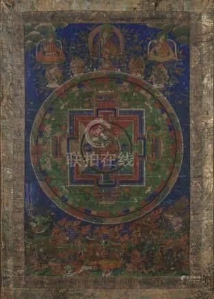 Thangka de MandalaTibet, début du XIXe siècleLe mandala au centre entouré de la