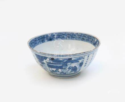 Bol en porcelaine bleu blanc à décor de scène de village, porte la marque à six