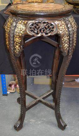 A LARGE 19TH CENTURY CHINESE HONGMU MOTHER OF PEARL INLAID STAND inset with foliage and vines. 103