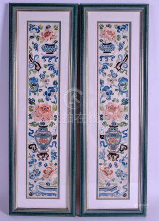 A PAIR OF EARLY 20TH CENTURY CHINESE SILKWORK SLEEVES Late Qing. Silk 47 cm x 9 cm.