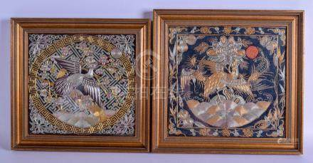 A PAIR OF 19TH CENTURY CHINESE OFFICIALS SILKWORK RANK BADGES decorated with birds amongst foliage.