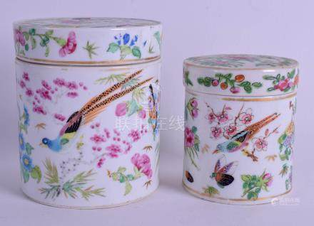 TWO 19TH CENTURY CHINESE CANTON FAMILLE ROSE BOXES AND COVERS. 11 cm & 9 cm high. (2)