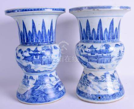 A LARGE PAIR OF 19TH CENTURY CHINESE BLUE AND WHITE YEN YEN VASES Qing. 34 cm x 22 cm.