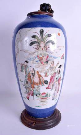 A 19TH CENTURY CHINESE POWDER BLUE PORCELAIN VASE Kangxi Style, painted with figures within landsca