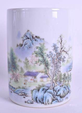 A CHINESE REPUBLICAN PERIOD FAMILLE ROSE BRUSH POT bearing Guangxu marks to base, painted with land