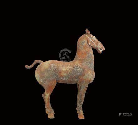 Massive and Rare Painted Pottery Figure of a Horse