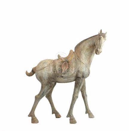 A Masterpiece Pottery Figure of a Saddled Horse