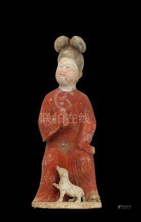 Earthenware Figure of a Seated Court Lady with Dog