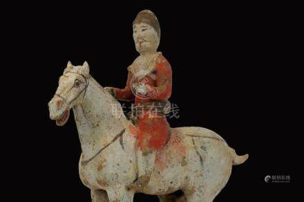 Chinese Painted Grey Pottery Equestrian Figure, Tang