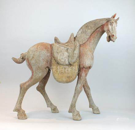 Chinese Large Painted Pottery Figure of a Piebald Horse