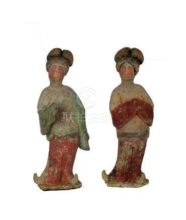 Chinese Painted Red Pottery Pair of Fat Ladies