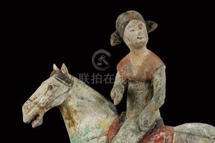 Chinese Red Pottery Equestrian Figure, Tang Dynasty