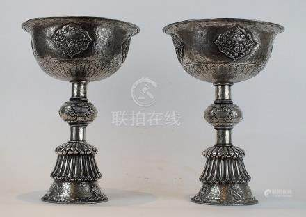 Master Quality Handmade Silver Butter Lamp, Tibet 18th