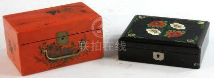 Chinese Enameled Box, Red Lacquered Box