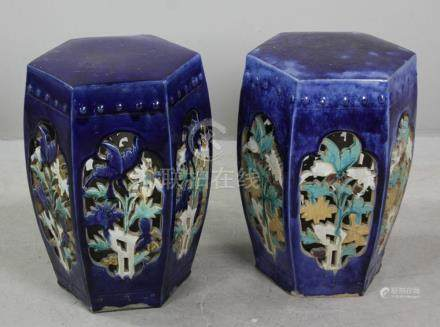 Pair of Chinese Glazed Pottery Garden Seats
