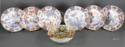 Seven Japanese Imari Pattern Pieces