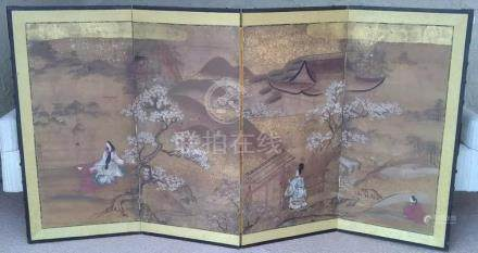19th C Japanese Painted Four Panel Screen