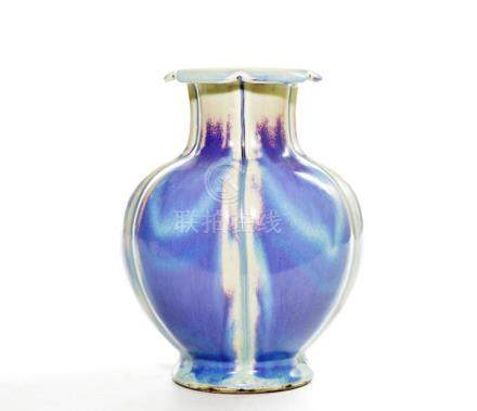 Fine Chinese Flambe-Glazed Pomegranate Vase
