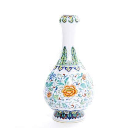 Very Fine Chinese Doucai Garlic Porcelain Vase