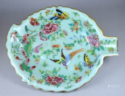 CHINESE CELADON SMALL LEAF DISH