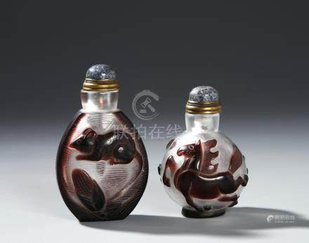 Two Chinese Overlay Glass Snuff Bottles