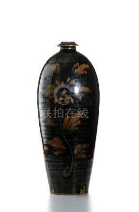 Chinese Cizhou Black Glazed Russet Painted 'Peony'