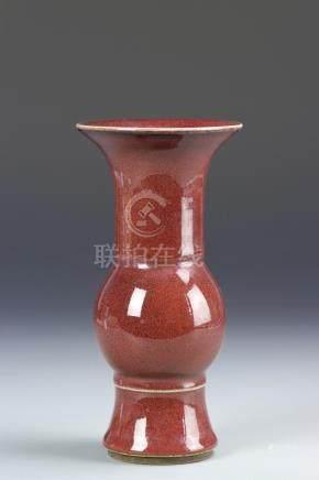 Chinese Oxblood Glazed Beaker Vase