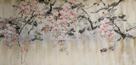 Chinese Scroll Painting of Peach Blossom