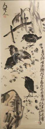 Chinese Scroll Painting of Crows